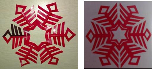 对照一下 评价学生作品 5、小结 本节的主要内容就是六角对称,它的折叠方法是本节的重点,课下同学们要多加练习;在运用过程中,怎么样画稿确实个难点,要加强简笔画的练习,这样才能得心应手。 九、作业: 自己创作六角对称剪纸作品一幅。 滨州市博翱职专